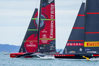 36th AMERICA'S CUP DAY 1, Race 1 to Emirates Team New Zealand, Race 2 to Luna Rossa Prada Pirelli